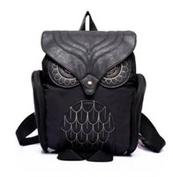 Wholesale Owl Cell Phone Bag - Fashion Women Backpack Newest Stylish Cool Black PU Leather Owl Backpack Female Hot Sale Women shoulder bag school bags