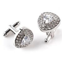 Wholesale Purple Cufflinks Crystal - High grade Silver Plated Purple Crystal Rhinestone Cufflinks Wedding shirt Cuff Links Classic Luxury Jewelry 3 Color