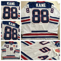 Wholesale Icing Logos - Chicago Blackhawks 2010 Olympic Team USA 88 Patrick Kane White Ice Hockey Jerseys Embroidery Logos Hockey Jersey