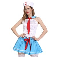 Wholesale Lingerie Sailor Costume - Free Shipping Womens Sexy Lingerie Role Play Cosplay Set Sailor Uniforms Suits Women's Skirts Clothes EU998
