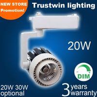 Wholesale Dimming Led Track Light - Wholesale-8 pieces 220V 230V 240V track spotlight dimming LED rail spot light lamp COB 20W LED track light dimmable