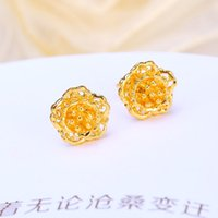 Wholesale Earrings Gold 24k Wholesale - 10.5mm 24k Gold Plated Studs New Design Earrings For Women Dresses Beautiful Wedding Engagement Crystal Studs Freeshipping Hot Sale