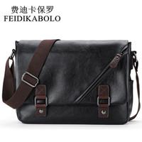 Wholesale Leather Student Bags - FEIDIKABOLO Brand Men Messenger Bags, Retro Fashion Men's Crossbody Bag Designer Handbags,Casual Black Leather Student Bag Man