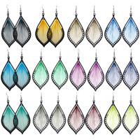 Wholesale Thread Chandelier Earring - Thread Earrings Leaf 21 Colors Wholesale Lots Hook Charm Dangle Handcraft Women Girl Eardrop ( Green Blue Brown Red Yellow Purple )(JT016)