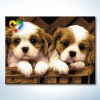 Wholesale Dog Baby Sets - Lovely Dog Wall Art DIY Painting Baby Toys 30x40cm Infant Canvas Oil Painting Drawing Wall Art for Children with Green Acrylic