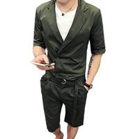 ingrosso blazer for dress-Summer Casual Dress Designer unico Slim Fit Mens doppio petto abiti 2 pezzi Short Set Blazer Pants Green Men Suit con cintura