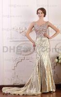 Wholesale Sheath Sweetheart Beadings Dress - 2016 Light Golden Evening Dresses with Beadings Sweetheart Neckline Spaghetti Straps Floor Length Court Train Robe Vestido