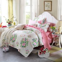 100% Cotton spring flower duvets - Spring and Summer Style Pink Flower Queen size cotton bedding set duvet cover set