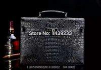 Wholesale Real Crocodile Skin Bags - Wholesale- 100% Genuine Real Crocodile Skin Leather Men Briefcase Laptop Bag Top Handbag Black Brown Coffee Men Business Bag