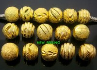 en düşük fiyatlı altın bilezikler toptan satış-100 adet karışık Altın Aluminun Yuvarlak Boncuk Takı Yapımı için Gevşek Charms DIY Büyük Delik Boncuk Avrupa Bilezik için Toptan Toplu Düşük Fiyat