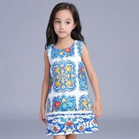 Wholesale China Blue Lace Dress Wholesale - 7pcs lot Autumn European Design China Blue Art Girls Dress Sleeveless Children Princess Vintage Dressy Girl Dresses Clothes K7913