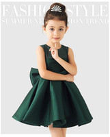 Wholesale Little Girls Elegant Dresses - Elegant Satin Flower Girl Dresses Big Bow Party Pageant Dress for Wedding Birthday Little Girls Ball Gown 3 color 2-12Y