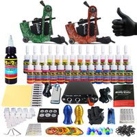 Wholesale Tattoo Ink 15 - SolongTattoo New Beginner 2 Pro Machine Guns Tattoo Kit Power Supply Needle Grips tip 28 color ink set TK204-15