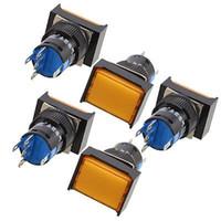 Wholesale 5a Push Switch - Wholesale-5 Pcs Orange Rectangle Cap AC 250V 5A SPDT 5 Pins Push Button Switch