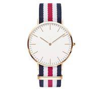Wholesale Wholesale Leather Wrist Straps - 100pcs uxury Brand Style D&W Watches For Men Women Gold Dial Nylon Strap Military Quartz Wrist watches