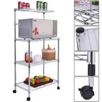 Wholesale Metal Bathroom Shelf Rack - 3-Tier Kitchen Baker's Rack Microwave Oven Stand Storage Cart Workstation Shelf