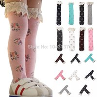 Wholesale Leggings Tights Tube - Wholesale-Baby Girls Little Lace Flower High Knee High Tight In Tube Stockings