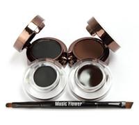 Wholesale Eyeliner Gel Pro - Pro 4 in 1 Eye Makeup Set Gel Eyeliner Brown + Black Eyebrow Powder Make Up Waterproof And Smudge-proof Eye Liner Kit B