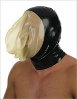 masque de capot zippé achat en gros de-Gros-Offre Spéciale Latex Latex Masque Fétiche Latex Dos Zippé S-XL Noir Avec Visage Transparent