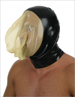 Wholesale Special Offer Latex Rubber Fetish Mask Latex Hood Back Zipped S XL Black With Transparent Face