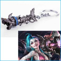 Wholesale Movie Prop Weapons - League of Lol Legendes Game LOL Metal Keychain For Fans Runaway Lolita Jinx weapon cosplay prop Cool Keyring Jewelry Accessory