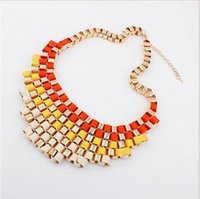 Wholesale Exaggerated Bib Necklace - Fashion Temperament Exaggerated Bib Multicolor Chokers Necklace women Dress Jewelry Retro Metal Chokers Necklace Party jewelry
