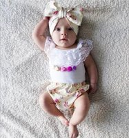 Wholesale Baby Romper Vest Suit - Baby INS flower romper suit DHL girl lace vest tops+broken flower pp pants + matching headbands 3pcs suit baby clothes sweet girl B001