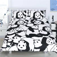 Wholesale King Size Panda Bedding - Fashion Design Panda Reactive Printing Bedding Set Twin Full Queen King Size Bedroom Decoration Duvet Cover Pillow Sham 3PCS Animal