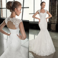 Wholesale Open Back Corset Wedding Dresses - 2016 Stunning Mermaid Wedding Dresses Lace Appliques Sweetheart Neck Cap Sleeves Open Back Corset Bridal Gowns Top Quality Custom Made