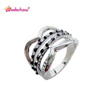Wholesale stainless steel rings for women gemstones resale online - Jewelry Rings Fashion gemstones engagement rings women wedding stainless steel band rings with black rhinestones jewelry for girl RN