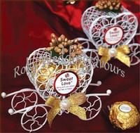 Wholesale Carriage Party Favors - FREE SHIPPING 50PCS Iron Heart Carriage Candy Boxes with Different Color Flowers Wedding Favors Bridal Shower Party Decoration