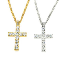 Wholesale Big Men Necklace - ++ big promotion + + + Hip Hop Alloy Gold Color Cross Pendant Necklace Iced Out Rhinestone Crucfix Necklace Jewely Men Free Cuban Chain