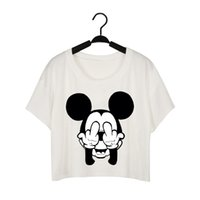 Wholesale Printed Shades - Funny shade mouse Cartoon cute print t-shirts for women tops mini short sleeve t shirt casual crop top graphic tees tshirt WT48 WR