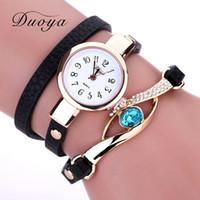 Wholesale Eye Glasses Bracelet - Duoya Ladies' Fashion Watches Eye Gemstone Luxury Watches Women Gold Bracelet Watch Female Quartz Wristwatches Montre Feida