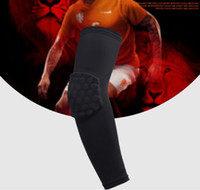 Vente en gros - High Elastic Gym Sports à manches longues Soutien à la main Basketball Shooting Elbow Arm Warmers Pad For Men Women Honeycomb Anti-collision