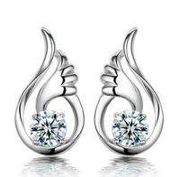 Wholesale Rhodium Element - Crystal Angel Wings Stud Earrings Swarovski Elements 30% 925 Sterling Silver Overlay Jewelry Women Bohemian Ear Jewelry Wedding Earrings