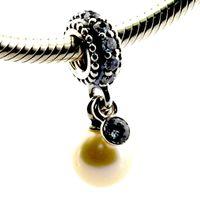 Wholesale Elegant Bracelet Sterling Silver - 2016 Luminous Elegant Pearl & Clear CZ 100% 925 Sterling Silver Bead Fit Pandora Bracelet Fashion Jewelry DIY Charm Brand