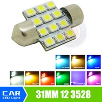 Wholesale Auto Led Bulbs Dome Light - 31mm 3528 1210 SMD 12 LED Car Auto Festoon Dome Interior Map Lights Bulb Lamp for DC 12V Blue Green Yellow Red