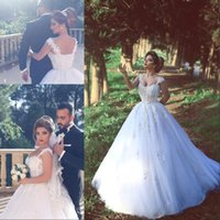 Wholesale full corset sweetheart dress - 2017 Vintage A Line Arabic Dubai Wedding Dresses with Cap Sleeves Full Lace Appliqued Tulle Corset Wedding Gowns Vestidos De Noiva BA3840