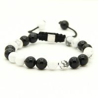 Wholesale Macrame Shamballa - Wholesale 10pcs lot 8mm Natural Black Onyx with White Howlite Marble Stone Beads Shamballa Macrame Lucky Bracelets