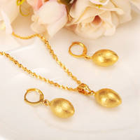 Wholesale Eggs Bullets - Egg Oval Bead Necklace Pendant Bullet Earrings Jewelry Set Party Gift 14k Yellow Fine Gold GF Africa ball Women Fashion