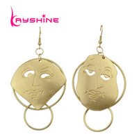 Wholesale Circle Shaped Earrings - Punk Rock Style Gold-Color Chain With Different Circle Geometric Face Shape Drop Earrings For Women Accessories