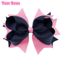 Wholesale Navy Baby Hair - Wholesale- 1PC 5.5Inches Kids Girl Toddler Infant Hair Bows Pink Navy Solid Baby Bows Hairpins Grosgrain Ribbon Bows Hair Accessories