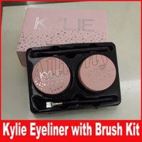 Kylie Eyes Makeup 2 in 1 Black + Brown Colori a lunga durata Gel Eyeliner con piccole spazzole Perfect Cosmetic