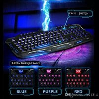 Wholesale Three Color Led - backlit gaming keyboard English&Russian switch Three Color Light red blue purple led waterproof Wired Powered Computer Peripherals