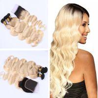 Wholesale Two Cheap Bundles Weave - Ombre Peruvian Hair Weave T1b 613 Cheap Body Wave Dark Root Blonde Virgin Remy Human Hair Bundles Two Tone Brazilian Malaysian Indian Weft
