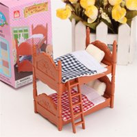 Wholesale Plastic Dollhouse Dolls - DIY Miniatura Dollhouse Fluctuation Bed Acessories Sets For Mini Doll House Miniatures Furniture Toys Gifts For Children
