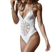 strappy suits Canada - Women One Piece Strappy Swimsuit Swimwear White Black Crochet Thong Bodysuit Leotard Bathing Suits Bikini Monokinis