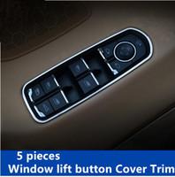 Wholesale Cayenne Porsche Wholesaler - Aluminium Window Glass Lift Button Decorative Cover Interior Door Armrest Strip For Porsche Cayenne Macan Panamera Car Styling