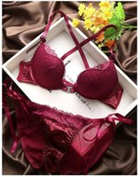 Wholesale Lace Up Briefs - Wholesale-Intimates Pink Red Black sexy Front Closure Half cup underwear Brief sets Y-line-Straps Floral Embroidery women Bra sets